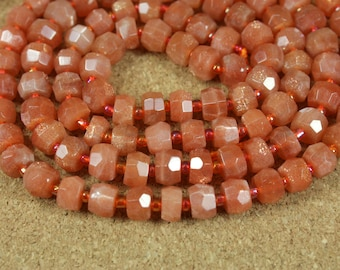 AAA Sunstone Faceted Rondelle Beads - Orange Shiny and Sparkly High Quality Beads