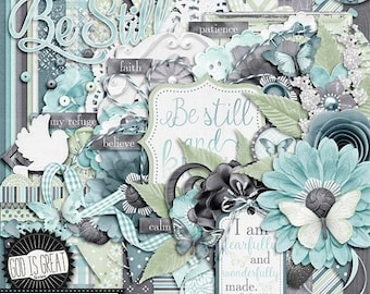 On Sale 50% Off Be Still 12x12 Digital Scrapbooking Kit