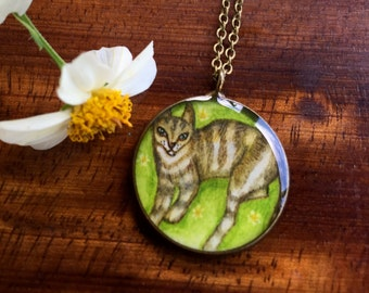 Cat on Grass Necklace