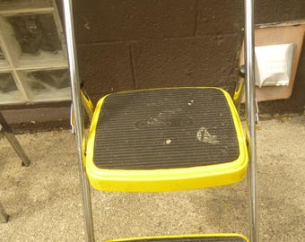 Vintage Yellow Cosco Folding Stepstool - Narrow Enough to Hang - Rugged MId Mod Industrial Form