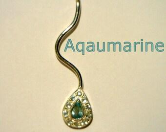 Aquamarine with Goshenite Beryl Halo Handmade Sterling 925 Silver Ladies Pendant