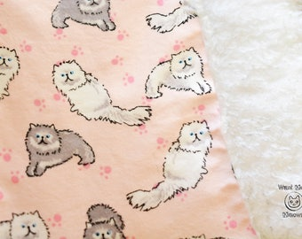 Cat blanket, Blanket for cats, Vintage cats, Persian cat bedding, Sherpa blanket, Fluffy cat blanket throw, White cat, Grey cat