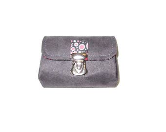 Bellows bubble cotton and suede purse