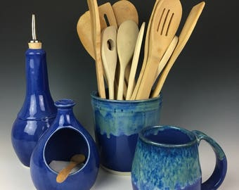 Pottery Olive Oil Cruet, oil cruet, pottery, cobalt, blue glaze