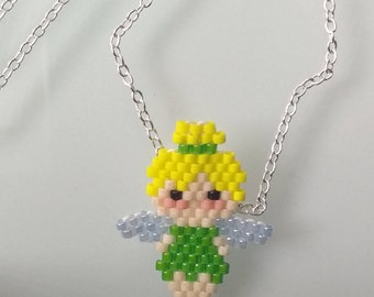 Tinkerbell Silver Peyote Necklace