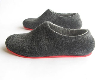 Felted Slippers Eco Friendly Wool Slippers Men, Vegan Shoes Felt Slippers Women Charcoal Black Gray Felt Shoes, Mens Felted Slippers Healing