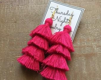 Hot Pink 4 Tiered Tassel Earrings