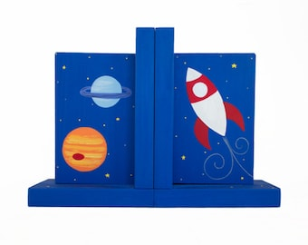 Hand Painted Bookend - Pair of Custom Children's Rocket Ship and Alien Outer Space Kid's Bookends or ANY Theme