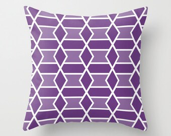 Geometric Pillow Cover - Purple Violet -  Abstract Modern Throw Pillow - Modern Home Decor - includes insert