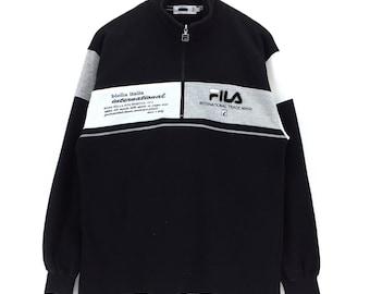 Vintage Fila Sweatshirt Fila Biella Italia Sweatshirt  Block Color Big Logo Baggy Large Size Rap Tees Hip Hop Vintage 90s