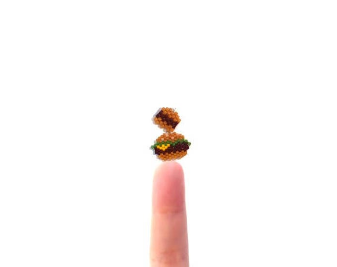 Seed Bead Patterns - Cheeseburger and Mini Hamburger Charms, Brick Stitch or Peyote Bead Weaving