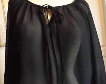 SALE Sheer Black See Through Blouse Top Medium Goth