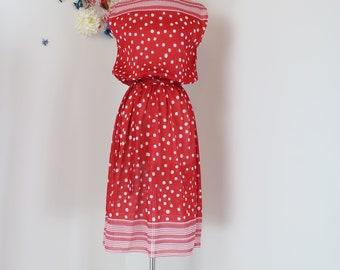 Vintage 1970s Red Polka Dot Midi Dress - Elastic Waist - A-line Skirt - Small/Medim - Sleeveless - Belted - Striped - Union Label