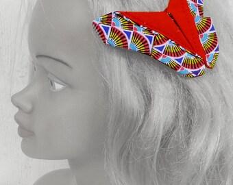 Barrette Papillon Origami ethnique, Rouge,  Bohème, Asiatique, Bijoux de tête