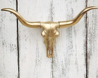 Gold Longhorn ~Long horn Skull ~Texas Longhorn~South West~Cow Skull~Faux Skull~Longhorn Wall Mount