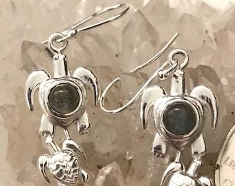 Gorgeous Labradorite Turtle Earrings