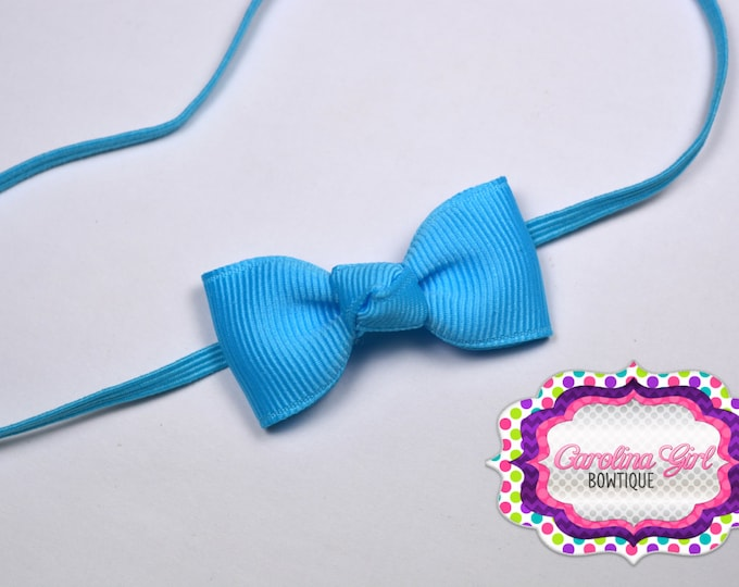 Mystic Blue Newborn Headband - Small Headband withTiny Bow on Skinny Elastic - Girls Hair Bows