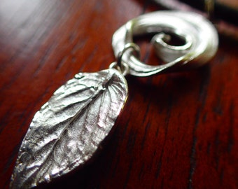 Fine Silver Necklace-Handmade Peppermint Leaf Necklace-Fine Silver leaf charm necklace-handmade silver charm necklace-small leaf necklace