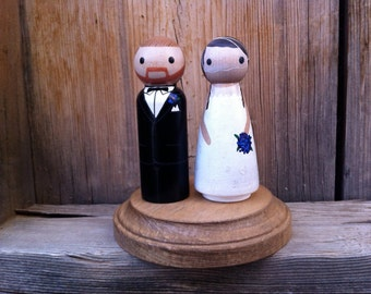 Wedding Cake Topper- Completely Custom, Anniversary Gift, PegBuddies, Wood Peg Dolls, Peg People