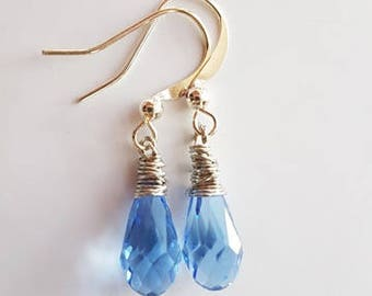 Light blue Crystal Tear Drop Dangle Earrings