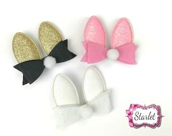 "Bunny Ear Clips 2.5"" Girl's Bow, Hair Accessories, Gold Bunny Ears,  Bunny Bow on Clip, Pick your Color"