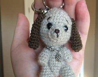 Crocheted Puppy on Keyring - ready to ship