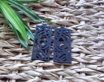 Rectangle Peek-A-Boo Design Wood Earrings in Coffee Pecan Black Wooden Earrings Brown Natural Stained Wood Earrings