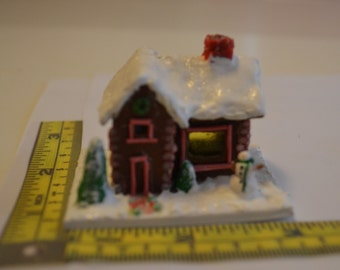 "Miniature polymer clay gingerbread house, base 2"" x 1 1/2'"