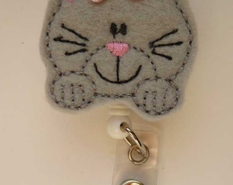 Little Grey Kitty  Badge Reel - Retractable Badge Reel - ID Badge - Name Badge Holder