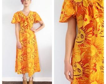 Vintage Sun and Stars Maxi Coachella Dress