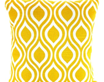Yellow Pillow Covers, Decorative Throw Pillows Cushions Corn Yellow White Geometric Nicole, Couch Bed Sofa, One or More ALL SIZES