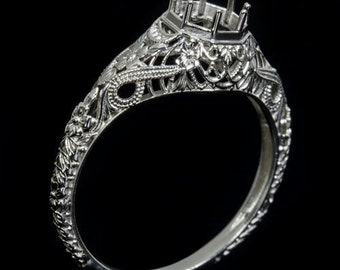 Vintage Antique Art Deco Engraved Filigree Milgrain Setting 14K White Gold Handcrafted Round Engagement Ring 6mm 6422a