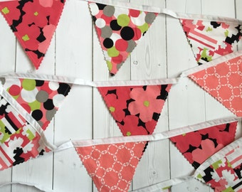 Baby Girl Bunting - Nursery Decoration = SALE - Pink, Black, White, Green - Ready to Ship - Trendy - Girl Room - Decor - Nursery