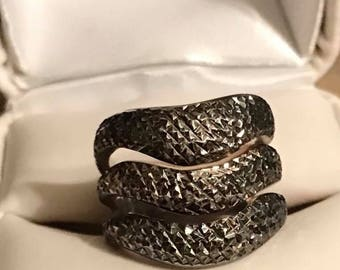 Vintage Sterling Silver 3 Tier Knuckle To Knuckle Ring Size 6.5
