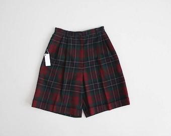 tartan plaid wool shorts | wool plaid shorts | high waist plaid shorts