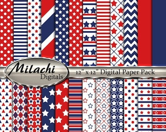"""60% OFF SALE 4th of July Stars and Stripes digital paper pack, 12"""" x 12"""" scrapbook papers, backgrounds - Instant Download - M269"""
