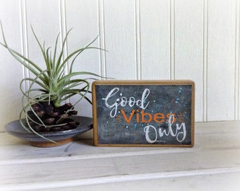 Wood Signs/Canvas Sign/Wood Canvas Sign Good Vibes Only/Inspirational Wooden Signs/Canvas Wood Sign Good Vibes Only