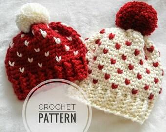 Astoria Hat Pattern, multiple sizes crochet fair isle pattern, mini heart hat diy, intermediate crochet pattern, crochet beanie tutorial