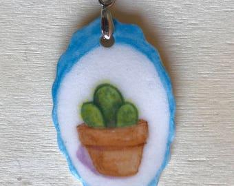 Cactus Succulent Porcelain Pendant