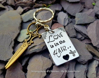 Hand Stamped 'Love is in the Hair..'Rectangle Keychain,Hairdressing, Hairdresser Keychain,Stamped Metal,Hairdresser Keyring,Scissors,Stylist
