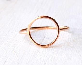 Open Circle ring in solid 14k ROSE gold, halo pink gold ring, Open circle gold ring, solid gold Eternity ring / Karma ring handmade