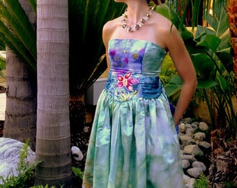 Tropical Wedding Dress - Hand Painted Silk, Custom Designs Available, One-of-a-Kind, Size 6-8