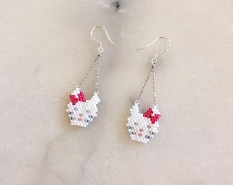 """Earrings in brickstitch """"Kitten"""""""