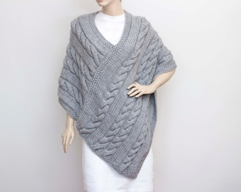 Knitted poncho  cabled poncho  cable pattern   Plus size  Chunky knit poncho, grey