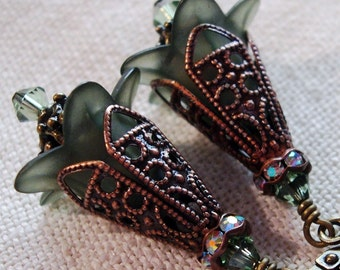 Moss Green Lucite Flower Earrings with Filigree