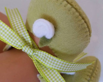 Lime green with white rose woolfelt baby shoes