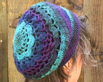 Slouchy Beanie, Free Shipping, Festival Clothes, Unique Handmade Boho Crochet Hat, Turquoise Teal Hipster Beanie Hat