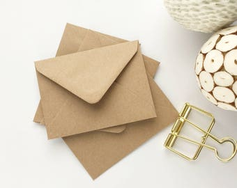 "200 Mini Envelopes Small Envelopes bulk Kraft recycled ideal for thank you cards seed envelopes mini notecards favors 4.3/8x3.1/4"" 112x83mm"