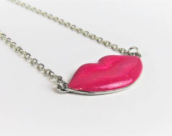 Pink Lips Necklace