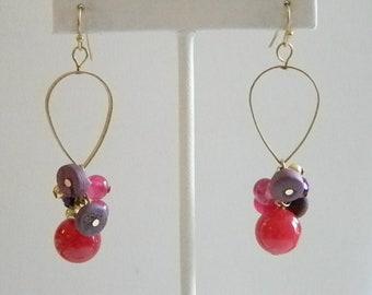 Summer Fun Pink Purple Beaded Dangle Pierced Earrings